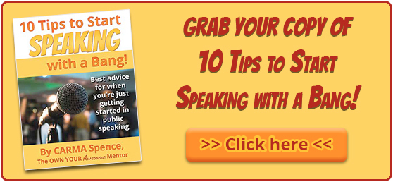 Grab your copy of 10 Tips to start speaking with a bang!