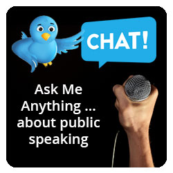 Twitter Chat with Carma Spence - Ask Me anything about public speaking